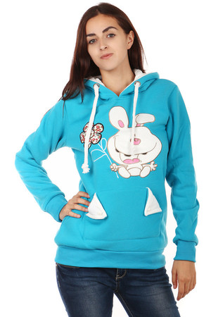 Warm sweatshirt with a picture and ears on the hood. Large front pocket. Drawstring Lanyards. Material: 100% polyester.