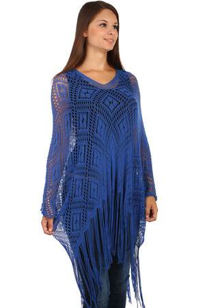 Women's interesting meshed poncho with a delicate pattern. Fringe ends. Single-color round neck design. Material: 80%