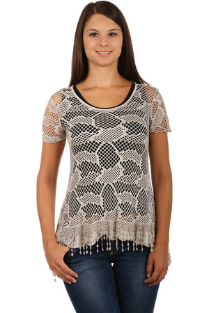 Women's modern mesh short-sleeved shirt. Simple pattern on t-shirt. Slight frills and fringes on the front edge. The black