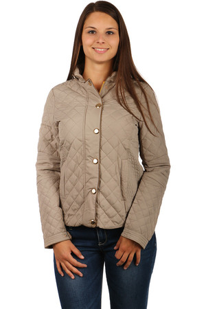 Women's quilted zippered jacket with large glossy patents. Front pockets. Zip fastening. Design without hood. Suitable