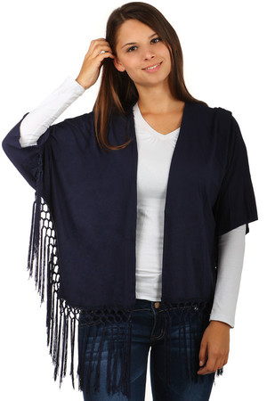 Non-traditional cardigan with 3/4 sleeves and fringes at the ends. Without fastening. Material: 95% Rayon, 5% Elastane