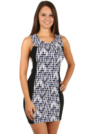Elegant dress with modern print. Wide straps. Zip fastening at the back. Material: 65% cotton, 30% polyester, 5% elastane