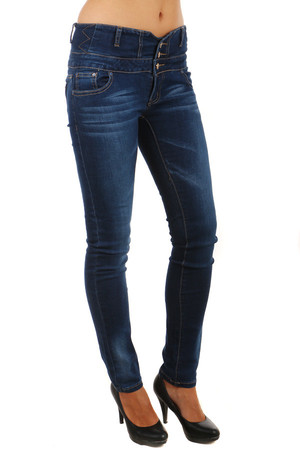 Beautiful dark jeans with raised waist. Zip fastening and buttons. Tie loops. Material: 98% cotton, 2% elastane.