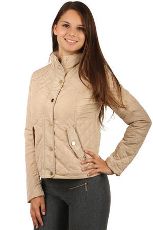 Women's Quilted Zip Jacket and Patents. Front pockets with flaps and zipper. Design without hood. Suitable for spring and