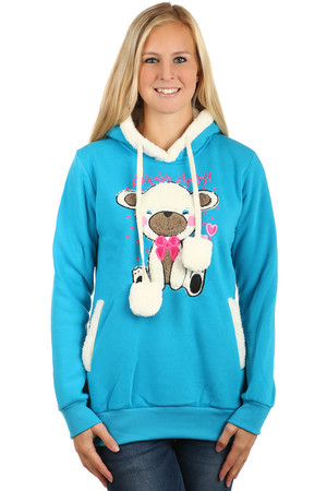 Women's sweatshirt with picture and hood. Fur on the edge of the hood, side pockets, picture and pompons. Material: 100%