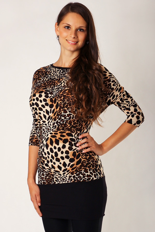Asymmetric ladies blouse with leopard pattern