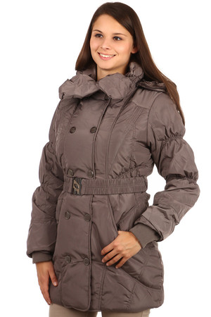 Women's long winter jacket with hood and belt. The hood can be removed as well as the edge fur on the hood. The fur is