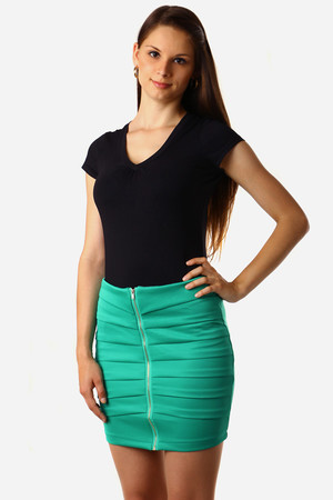 Modern ladies translated skirt. Zip fastening, single color design without printing. Length short above knee. Material: 100%