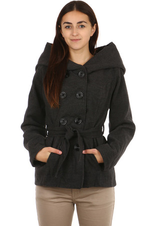 Women's fleece short jacket with button fastening and waistband. Front pockets. Suitable for autumn and winter. Up to