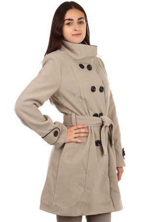 Longer coat with contrasting trim and two buttons in light beige color It has button and belt fastening. He has pockets at