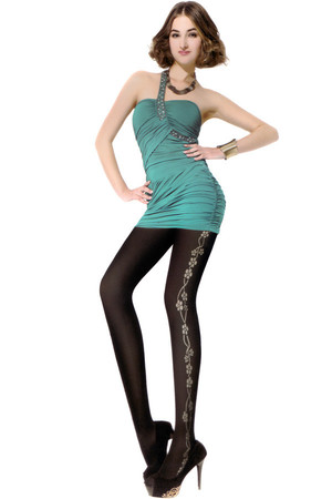 Dark tights with floral pattern. 350Den. Material: 65.8% nylon, 34.2% elastane.