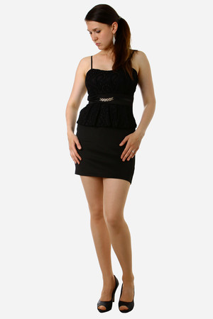 Modern formal dress. Hidden zip on the back. Fancy folded hip and sewn belt with gold chain on the front. Material: 96%