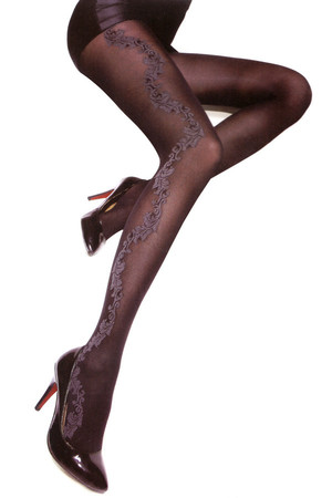 Black tights decorated with pattern. 500Den. Material: 50% wool, 35% polyamide, 15% lycra