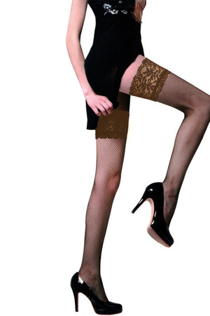 Women's self-retaining fishnet stockings with decorative lace. Material: 87% polyamide, 13% elastane