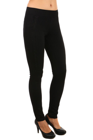Elegant women's leggings with rhinestones and lace at the top. Material: 95% cotton, 5% elastane