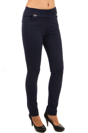 Women's leggings with a lace and a lace at the waist. On the side of your pocket. Material: 68% viscose, 28.5% nylon,