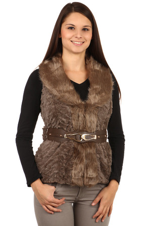 Women's short fur vest with a distinctive waistband. Good autumn / winter. Material: 65% acrylic, 35% polyester