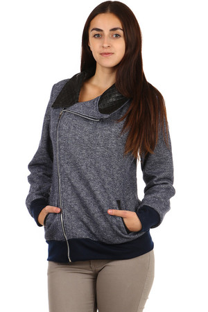 Amazing sweatshirt with asymmetric zipper, pockets and modern collar. Up to XXXL size. Material: 65% polyester, 35% cotton.
