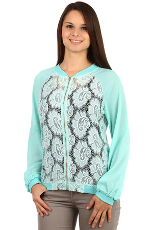Elegant sweatshirt with lace. Translucent sleeves. Zip fastening. Material: 75% cotton, 20% rayon, 5% elastane.