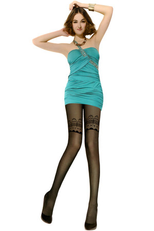 Women's tights with patterns. 350Den. Material: 65.8% nylon, 34.2% elastane.