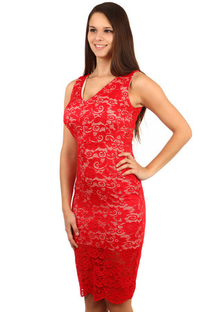 Exclusive lace dress. Wide straps. Zip fastening at the back. Import: Italy Material: 95% polyester, 5% elastane