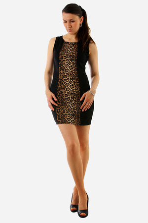 Elegant case dress, a combination of black and animal patterns. Pleasant on the body elastic. Material: 100% polyester