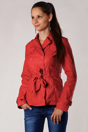 Women's short leatherette jacket. Button fastening and tie strap. Suitable for spring / autumn. Material: 60% PU top, 40%