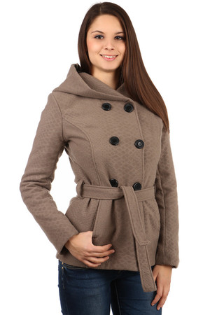 Short women's jacket with a hood and a soft snake pattern. Front pocket. Button and strap fastening. Suitable for autumn and