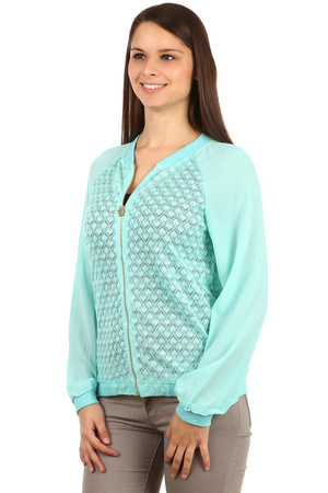 Interesting zipper sweatshirt with a decent pattern. Slightly translucent sleeves. Material: 75% cotton, 20% rayon, 5%