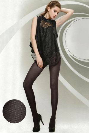 Dark tights with fine pattern. 350Den. Material: 65.8% nylon, 34.2% elastane.
