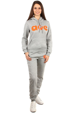 Modern and comfortable women's sports set. Inscription on the front of the sweatshirt, on the back of the hood and on the